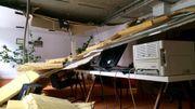 Le plafond du bureau du ministre flamand Philippe Muyters s'effondre