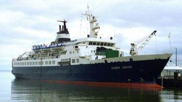 """Photo non datée montrant l'ancien navire de croisière russe  """"Lyubov Orlova"""" à la dérive depuis près d'un mois dans l'Atlantique Nord"""
