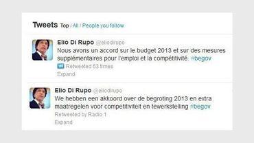 Il y a accord sur le budget a twitté Elio Di Rupo
