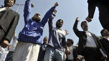 "Une manifestation contre le film anti-islam ""Innocence of Muslims"", le 14 septembre 2012 à Srinagarn en Inde"