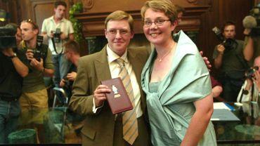 Marion Huibrechts et Christel Verswyvelen : le premier couple homosexuel qui s'est marié le 6 juin 2003 à Kapellen