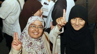 Des supportrices du parti Ennhada célèbrent la victoire