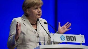 La chancelière Angela Merkel lors du congrès de la fédération allemande de l'industrie (BDI), le 25 septembre 2012 à Berlin