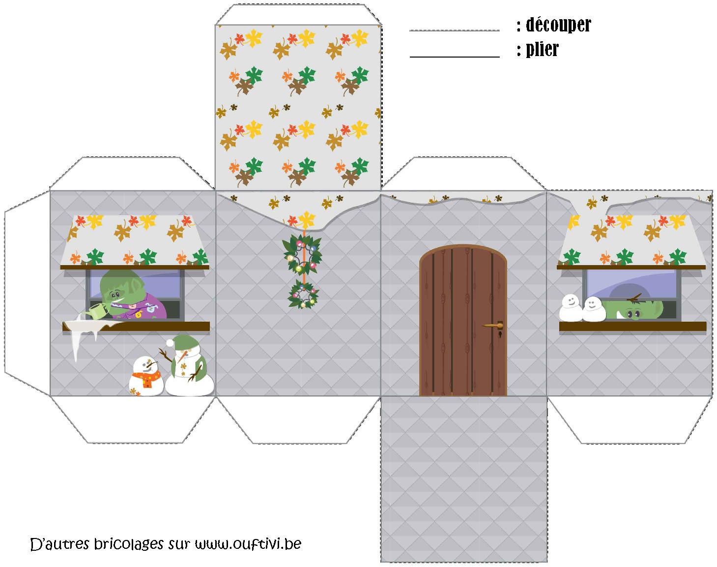 Bricolage maison de no l 4 ouftivi - Maison papier a decouper ...