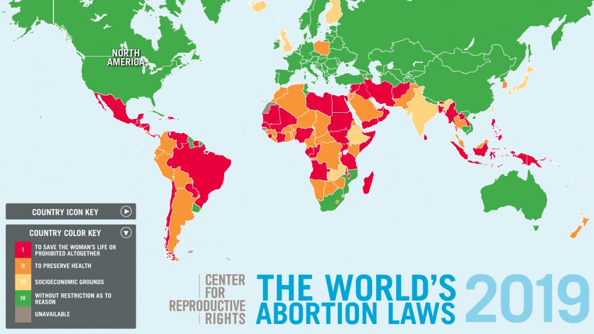 Les lois concernant l'avortement dans le monde en 2019