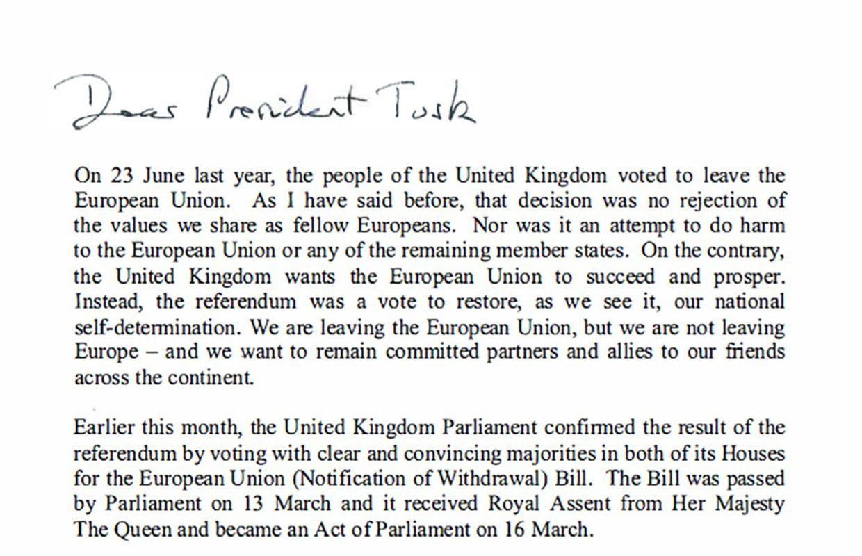 Londres enclenche formellement le processus du Brexit