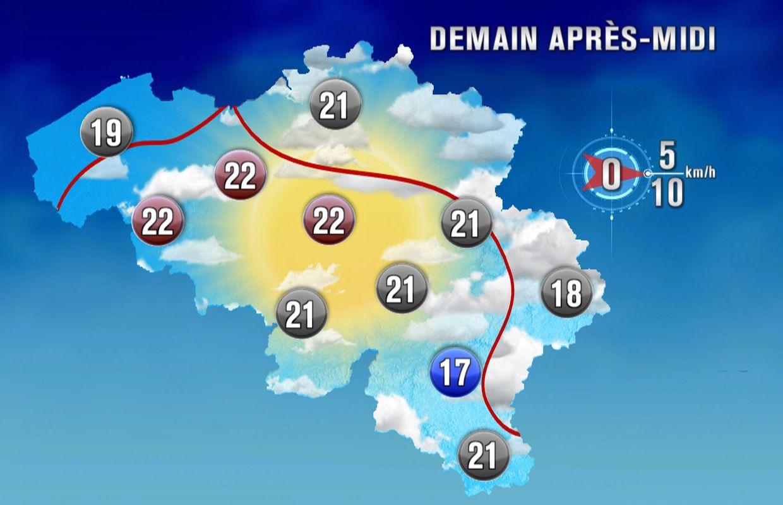 Temps sec et globalement ensoleillé avec des maxima jusqu'à 22 — Météo