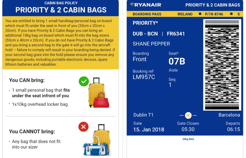 différence entre billet d avion et carte d embarquement Ryanair: que retenir de la nouvelle politique des bagages?