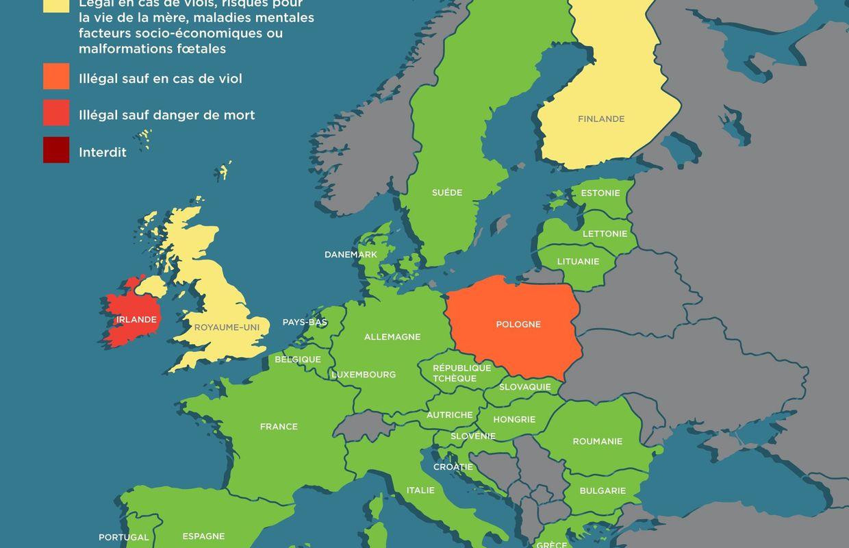 droits des femmes la situation en europe concernant l 39 avortement carte. Black Bedroom Furniture Sets. Home Design Ideas