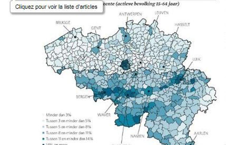 Carte Wallonie Flandre.La Carte Du Chomage En Belgique La Frontiere Linguistique