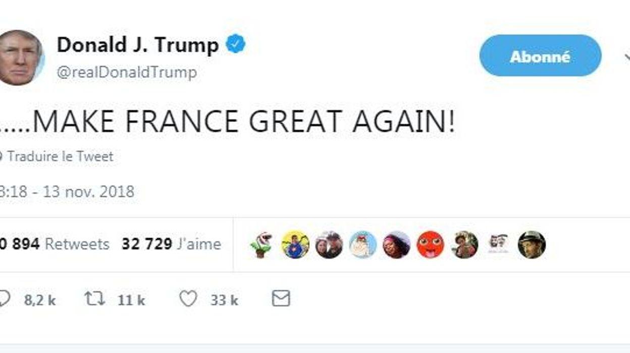 """Résultat de recherche d'images pour """"trump attaque la france twitter novembre"""""""