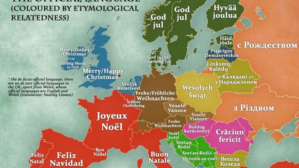 Une Carte De L Europe Pour Dire Joyeux Noel Dans Toutes Les Langues