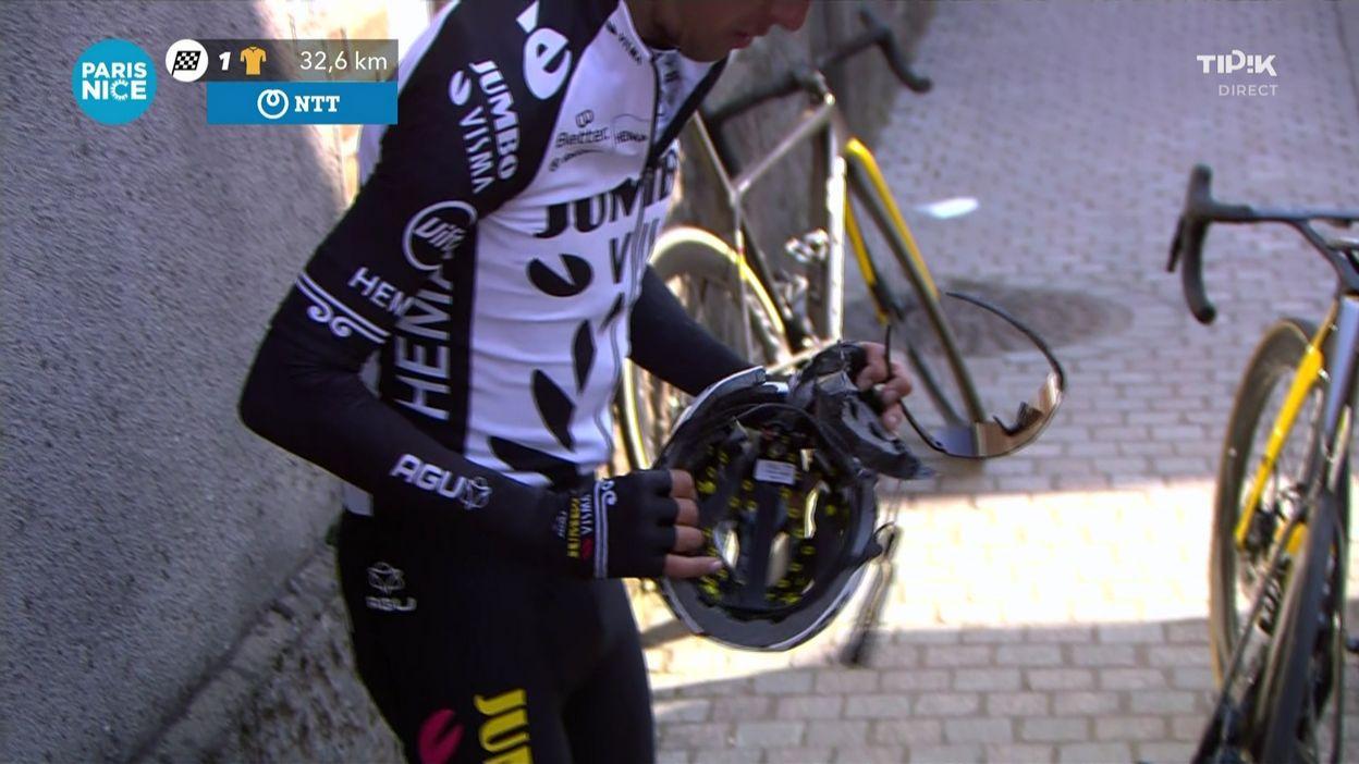 Sport Paris-Nice : George Bennett chute, brise son casque et se relève groggy - RTBF
