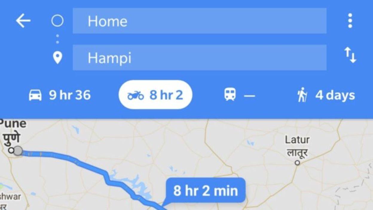 google maps se dote d sormais d 39 un mode moto. Black Bedroom Furniture Sets. Home Design Ideas