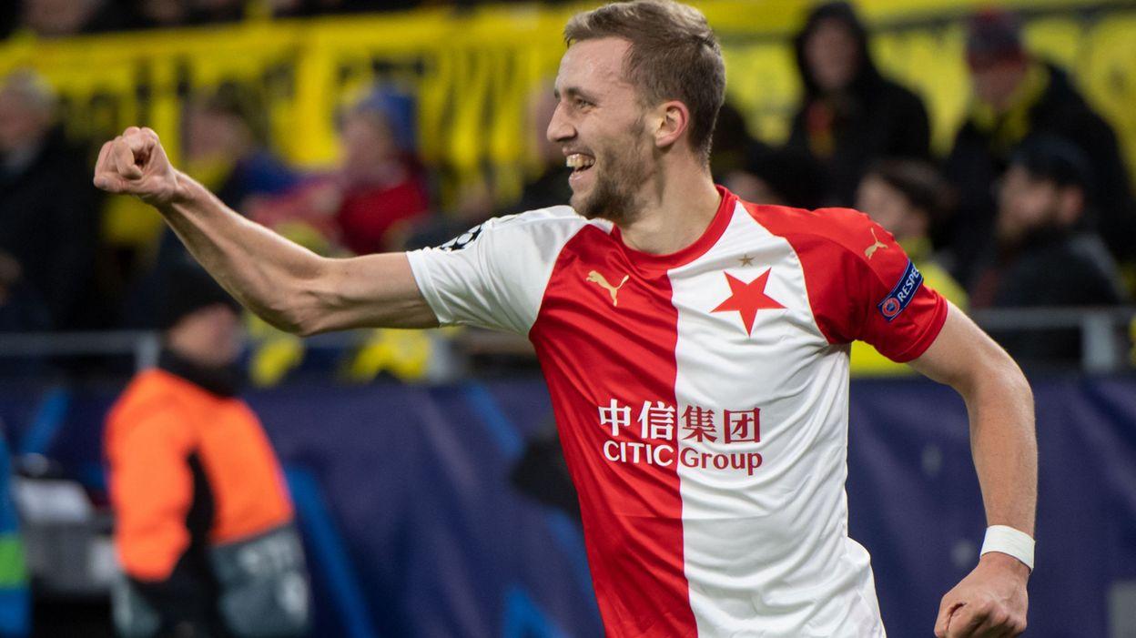 Europa League : Tomas Soucek, toujours fan du Slavia Prague, s'invite par FaceTime aux célébrations de son ancien club - RTBF
