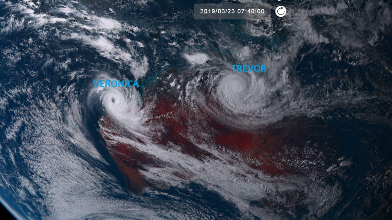 Trevor et veronica les 2 cyclones tropicaux qui s vissent en australie - Les 5 cyclones ...
