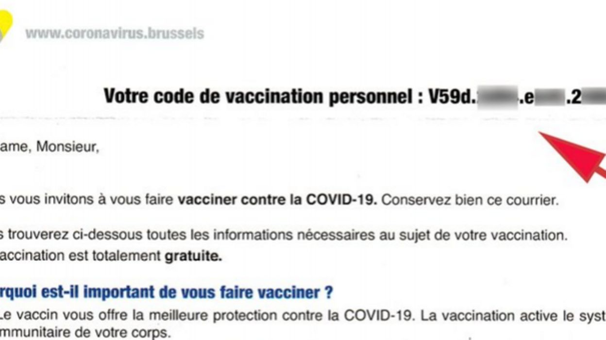 Vaccination à Bruxelles : si le code de vaccination mentionné sur votre convocation ne fonctionne pas, retirez les points - RTBF
