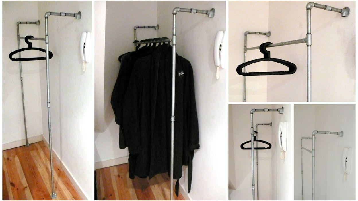 diy un vestiaire en tuyaux de plomberie. Black Bedroom Furniture Sets. Home Design Ideas