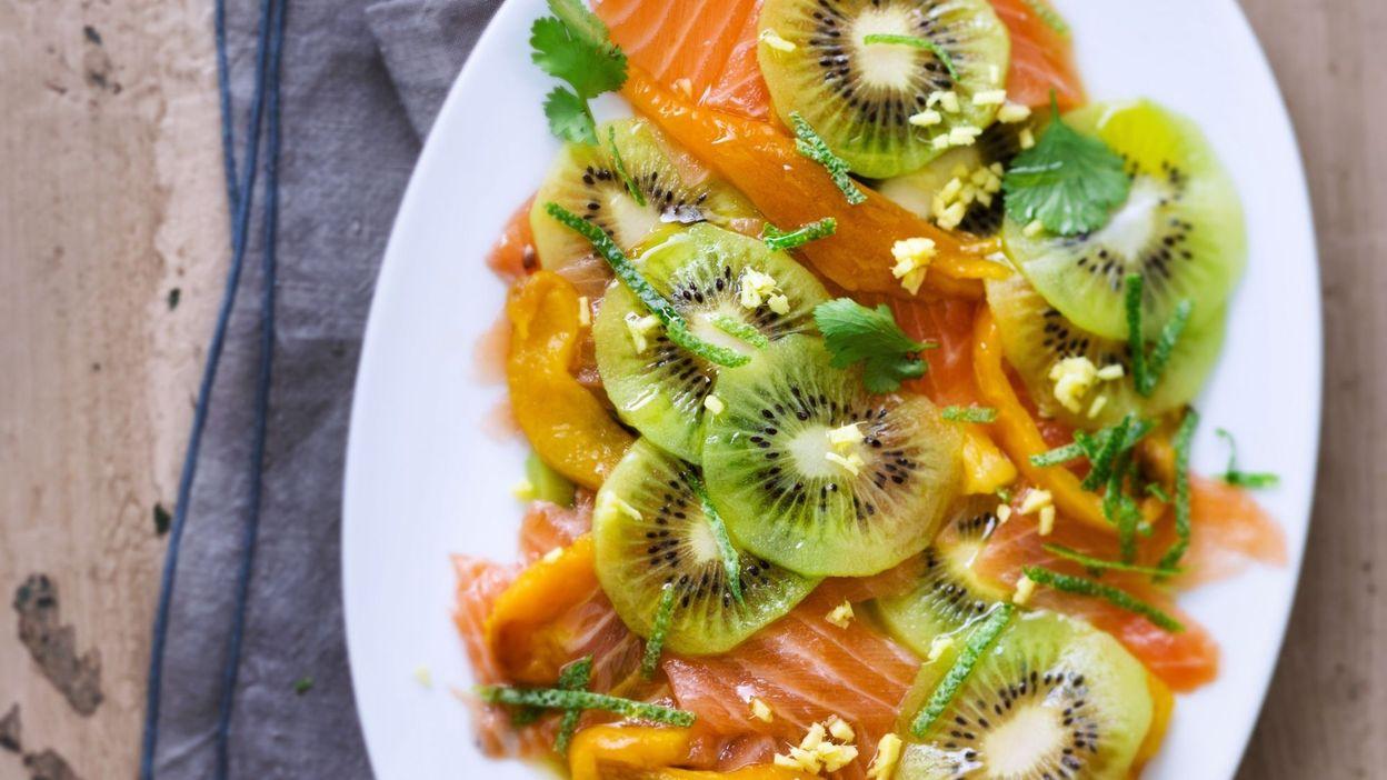 Recette: Carpaccio de kiwi au saumon