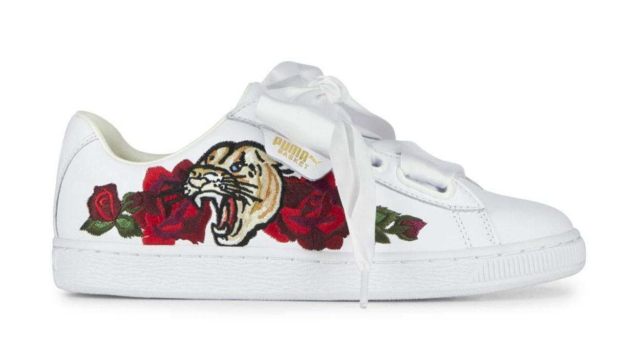 puma heart blanche tigre