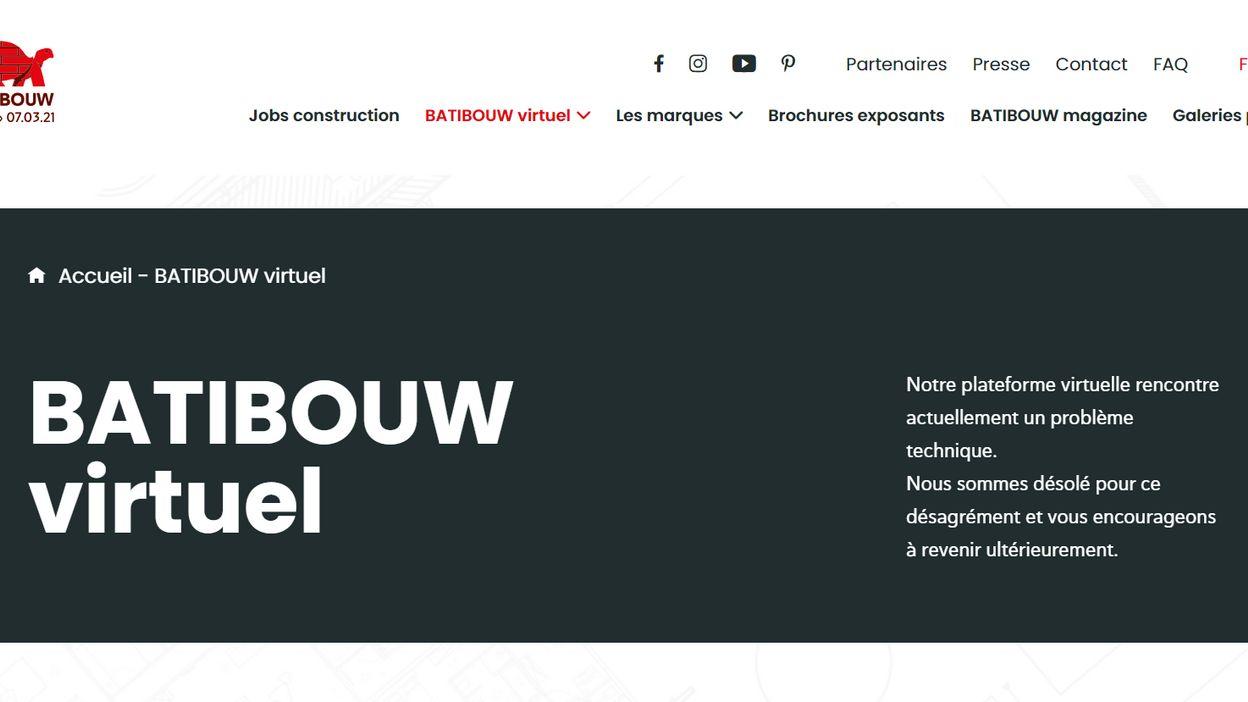 Batibouw, salon virtuel en 2021, est toujours bloqué ce dimanche par les bugs informatiques - RTBF