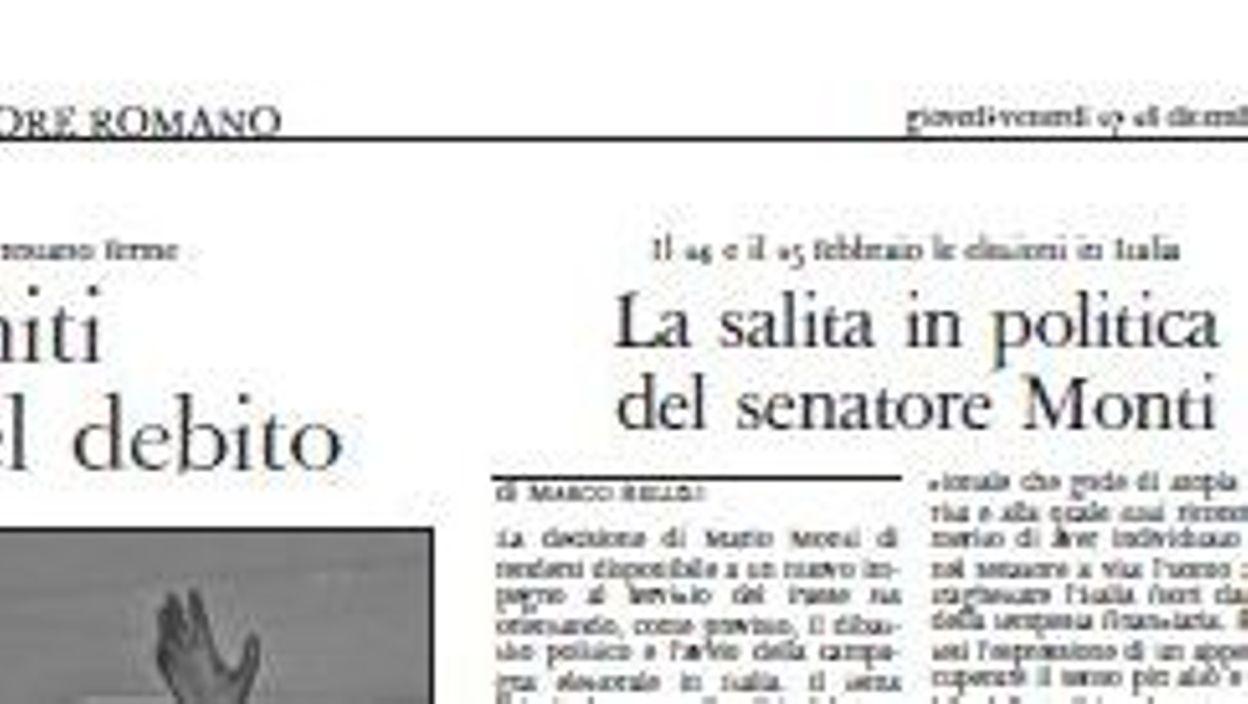 Italie le journal du vatican soutient mario monti - Les beatitudes une secte aux portes du vatican ...