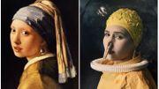 """Dans sa série Modern Icons, Harry Fayt revisite de grands classiques de l'histoire de l'art, ici """"La jeune fille à la perle"""" de Vermeer"""