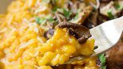Du riz, du potimarron, des champignons, du Herve: le risotto de saison