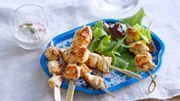 Recette : Mini-brochettes de poulet, sauce tomates séchées basilic