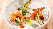 Gambas marinées et légumes grillés