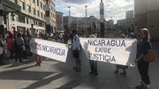 SOS Nicaragua, face à la gare centrale de Bruxelles, appelle à la libération d'Amaya et des autres prisonniers politiques