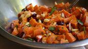 Recette de Candice : Salade de patate douce confite, chèvre et cerises