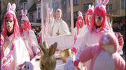Le pape François moqué un groupe carnavalesque d'Alost suite à sa déclaration de ne pas procréer comme des lapins en 2015.