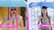 Il pleut sur Lady Gaga et Ariana Grande alors qu'elles font la météo