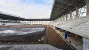"""Chantier du  stade du club de football """"Sepsi OSK"""" (8400 spectateurs) dont l'inauguration est prévue en juin 2021, dans la ville de Sfantu Gheorghe, en Roumanie."""