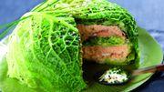 Recette : millefeuille de chou vert et saumon, sauce crème et ciboulette