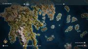 La carte de la Grèce antique vue par Assassin's Creed Odyssey. Le joueur est libre de s'y déplacer comme il le souhaite.