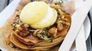 Recette : Pancakes, rigotte de Condrieu AOP, compotée de chicons & noix