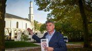 Filip Dewinter, lors d'une action de protestation devant la mosquée du Cinquantenaire, le 12 octobre 2017