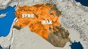 L'Etat islamique s'étend sur (des parties de) 16 provinces d'Irak et de Syrie (en orange)