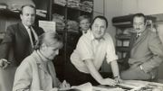 Pierre Delrock, Dolly Damoiseau, Georges Konen, Paul De Mol, van der Mersch François en 1968 à l'INR Place Flagey