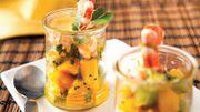 Recette : Tartare kiwi et mangue aux gambas