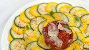 Carpaccio de courgettes vertes & jaunes et tartare de thon mariné