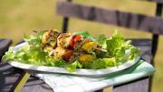 Recette: Brochettes de poulet aux petits légumes