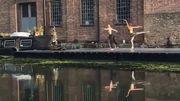 Deux danseurs du Royal Ballet improvisent un duo au bord d'un canal de Londres