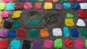 Un petit dragon se cache au milieu des carrés colorés