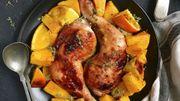 Recette : cuisses de poulet à la courge et aux oranges rôties