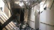 Un des couloirs dévasté par le sinistre
