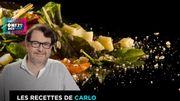 Salade de penne, tomates confites, gouda vieux et pesto de persil