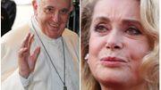 Le Pape François et l'actrice Catherine Deneuve dans Le Grand Cactus